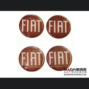 "Wheel Badges (4) - Classic FIAT Inspired Design - 2"" - Red"