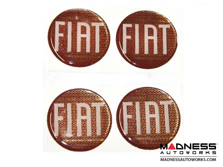"Wheel Badges (4) - Classic FIAT Inspired Design - 2"" - Red"