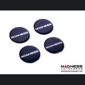 "MADNESS Wheel Badge Set (4) - Domed Round Badges w/ MADNESS Logo 1.75"""