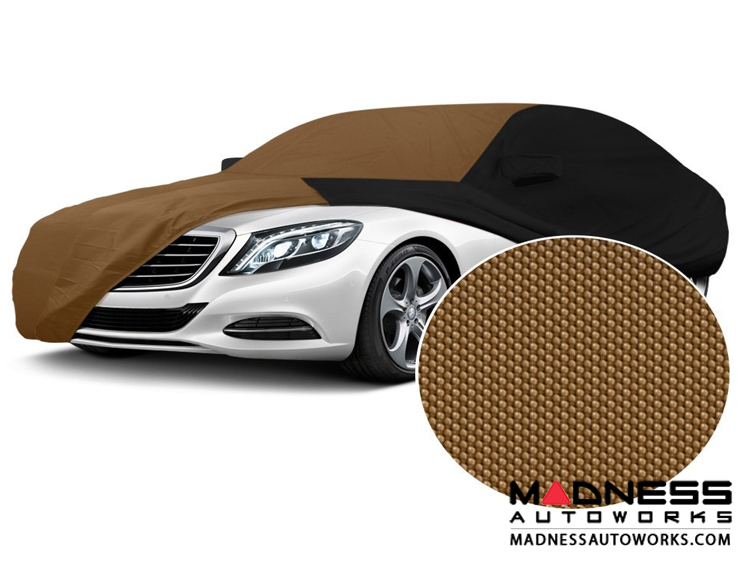 Alfa Romeo Giulia Custom Vehicle Cover - Stormproof - Black w/ Tan Center w/o Side View Mirror Pockets