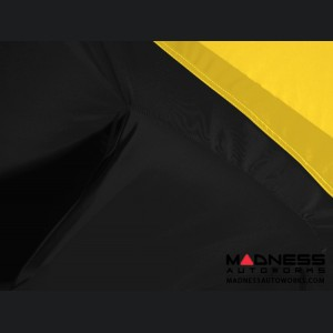 Alfa Romeo Giulia Custom Vehicle Cover - Stormproof - Black w/ Yellow Center w/o Side View Mirror Pockets