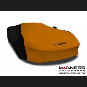 Alfa Romeo 4C Custom Vehicle Cover - Indoor Satin Stretch - Black w/ Grabber Orange
