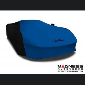 Alfa Romeo 4C Custom Vehicle Cover - Indoor Satin Stretch - Black w/Grabber Blue