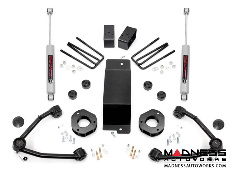 "Chevy Silverado 1500 4WD Suspension Lift Kit w/ Upper Control Arms - 3.5"" Lift - Cast Steel"
