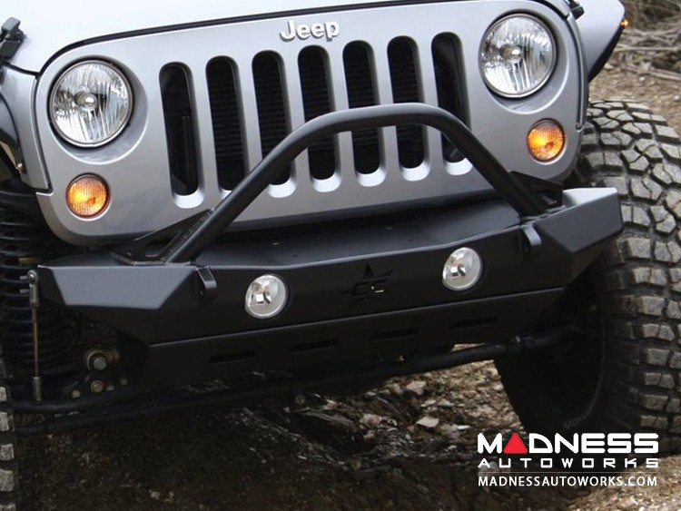 Jeep Wrangler JK by Crawler Conceptz -  Ultra Series Mid Width JK Front Bumper with Bar and Tabs