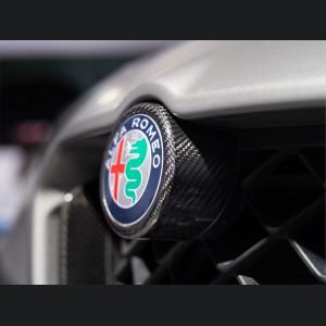 Alfa Romeo Stelvio Front V Shield Grill Frame + Emblem Frame Kit - Carbon Fiber - Quadrifoglio Model
