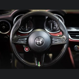 Alfa Romeo Stelvio Steering Wheel Trim - QV Model - 2 piece lower trim - Carbon Fiber - QV Logo