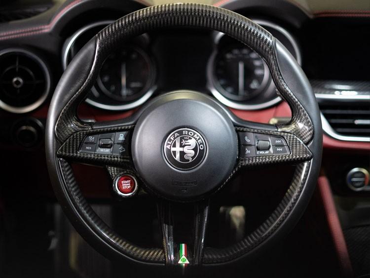 Alfa Romeo Stelvio Steering Wheel Trim - QV Model - 2 piece lower trim - Carbon Fiber - QV Logo