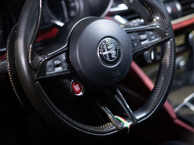 Alfa Romeo Stelvio Steering Wheel Trim - QV Model - Center Trim Piece - Carbon Fiber