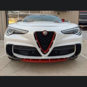 Alfa Romeo Stelvio Front V Shield Grill Frame + Emblem Frame Kit - Carbon Fiber - Red Candy - Quadrifoglio Model
