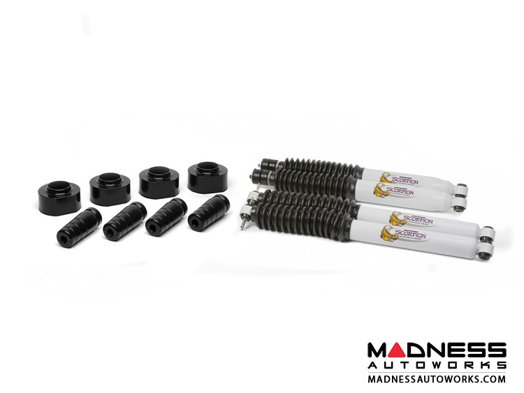 """Jeep Wrangler TJ Suspension Lift Kit 1.75"""" w/ Extended Bump Stops and Scorpion Shock Absorbers - Front and Rear (4 Each Per Set)"""