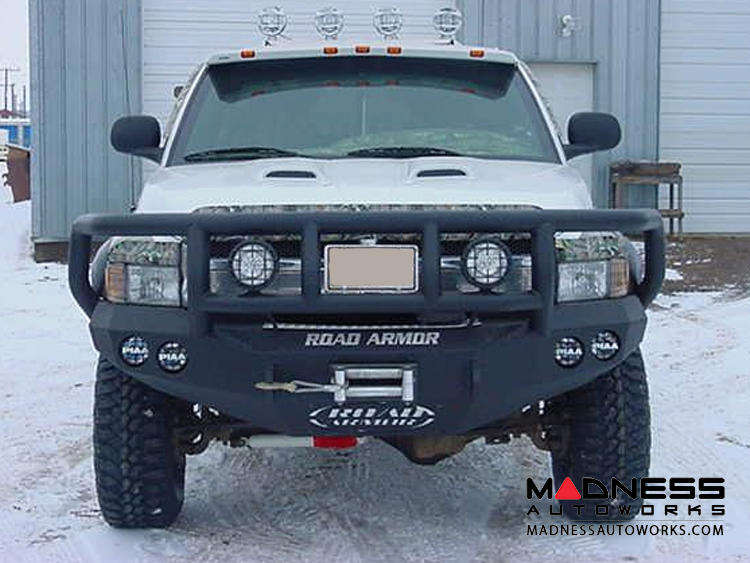 Dodge Ram Stealth Front Winch Bumper Titan II Guard - Smittybilt XRC - Raw Steel WARN M12000