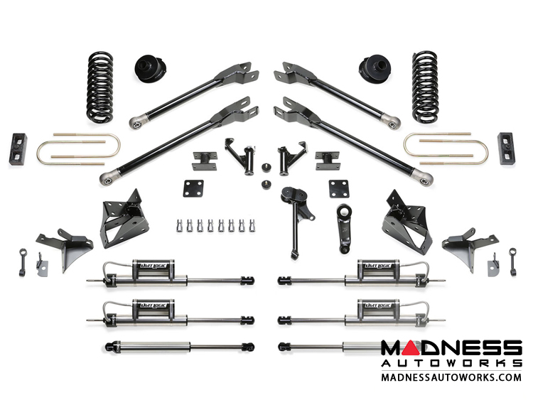 "Dodge Ram 3500 5"" 4 Link System w/ Dirt Logic Dual Front Resi Shocks and Rear Dirt Logic Shocks by Fabtech (2013 - 2017) 4WD"