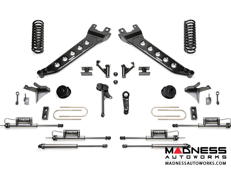 "Dodge Ram 3500 7"" Radius Arm System w/ Coil Springs & Dual Dirt Logic Resi and Non Resi 2.25 Shocks by Fabtech (2013 - 2017) 4WD"