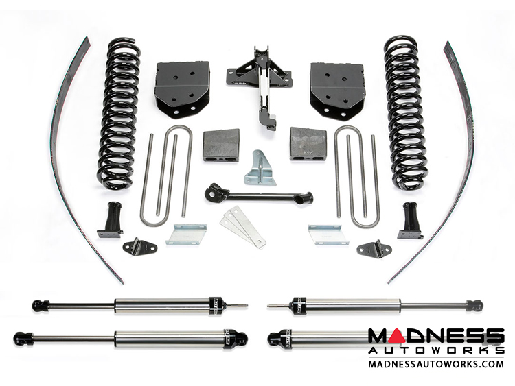 "Ford F 250 8"" Basic System ADD-A-Leafs w/ Dirt Logic 2.25 Shocks by Fabtech (2008 - 2016) 4WD - w/ Factory Overload"