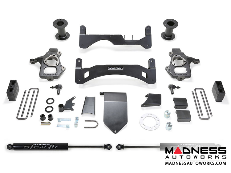 "Chevrolet Silverado 1500 6"" Basic System w/ Stealth Shocks by Fabtech - 2WD/ 4WD (2014 - 2017) Gen II"