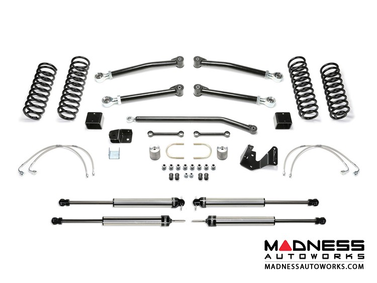 "Jeep Wrangler 3"" Long Travel Trail System w/ 2.25 Non Resi Dirt Logic Shocks by FABTECH - 2 Door JK (Short Arm)"