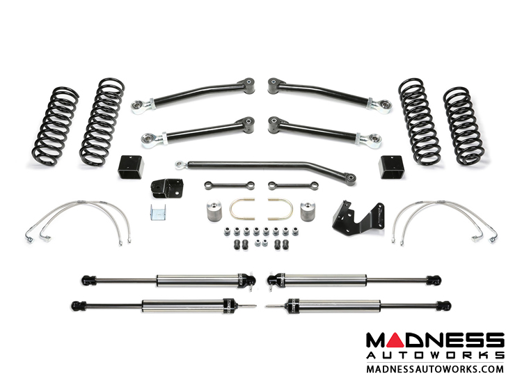 "Jeep Wrangler 3"" Long Travel Trail System w/ 2.25 Non Resi Dirt Logic Shocks by FABTECH - 4 Door JK (Short Arm)"