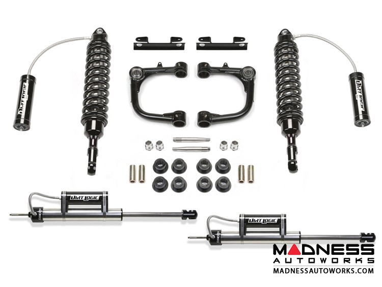 """Toyota FJ Cruiser 3"""" Upper Control Arm System w/ Front Dirt Logic SS 2.5 Coilover Resi & Rear Dirt Logic SS Resi Shocks by Fabtech - 4WD (2010 - 2013)"""