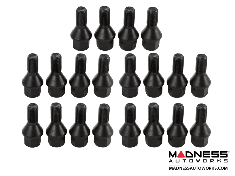 Jeep Renegade Lug Bolt Set by Farad - Set of 20 - M12x1.25 - 60° Cone Seat - Black