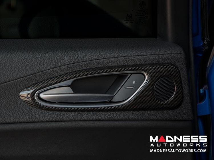 Alfa Romeo Giulia Interior Door Handle Trim Kit - Carbon Fiber