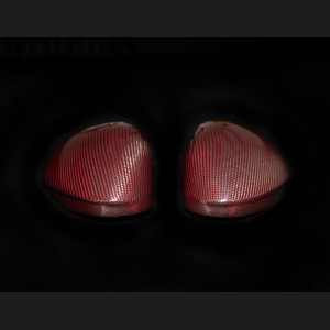 Alfa Romeo Giulia Mirror Covers - Carbon Fiber w/ Factory Clips - Red - Feroce