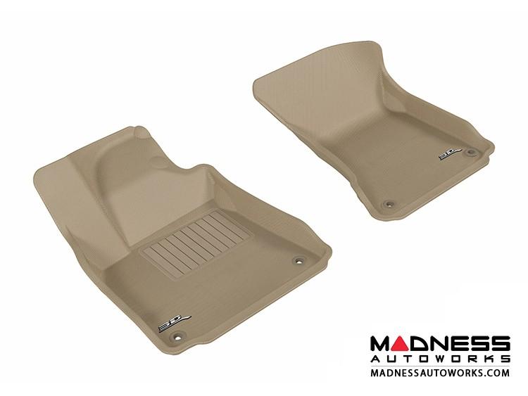 Audi A8/ A8L Floor Mats (Set of 2) - Front - Tan by 3D MAXpider (2011-2015)