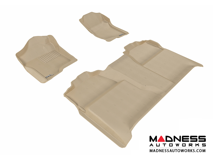 Chevrolet Silverado Crew Cab Floor Mats (Set of 3) - Tan by 3D MAXpider (2007-2013)