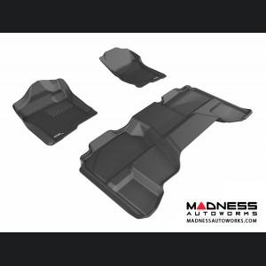 Chevrolet Silverado Extended Cab Floor Mats (Set of 3) - Black by 3D MAXpider (2007-2013)