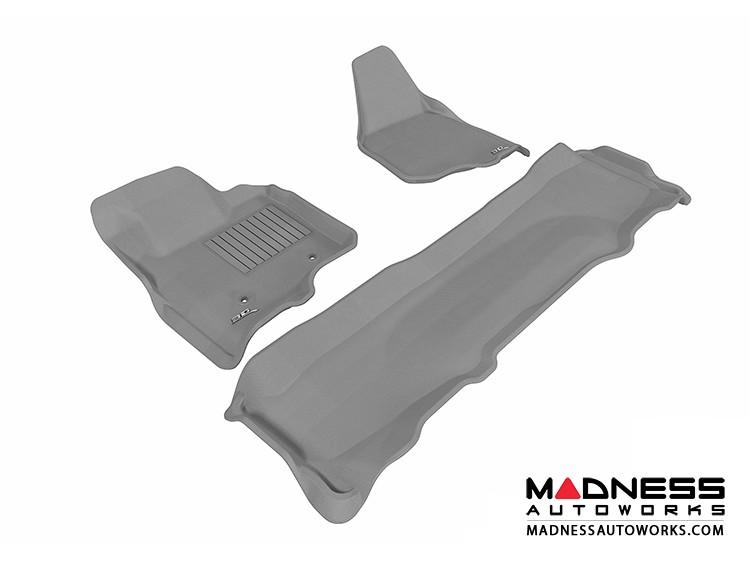 Ford F-250/ 350/ 450 Super Duty Crew Cab Floor Mats (Set of 3) - Gray by 3D MAXpider
