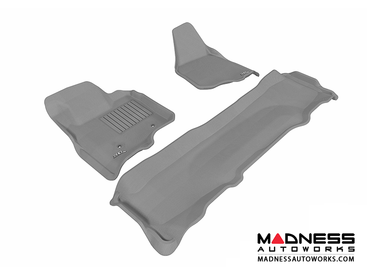 Ford F-250/ 350/ 450 Super Duty Crew Cab Floor Mats (Set of 3) - Gray by 3D MAXpider