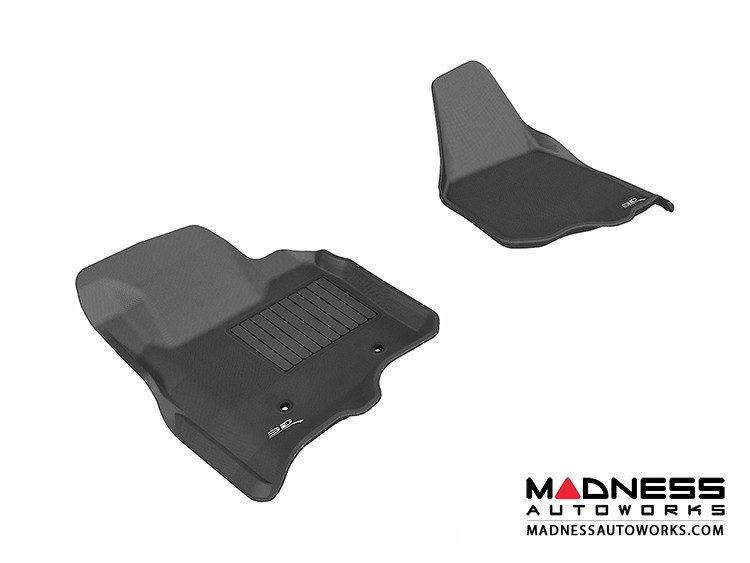 Ford F-250/ 350/ 450 Super Duty Super Cab/ Crew Cab Floor Mats (Set of 2) - Front - Black by 3D MAXpider