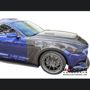 Ford Mustang Front Fenders - Anderson Composites - Carbon Fiber Set - GT 350 Style
