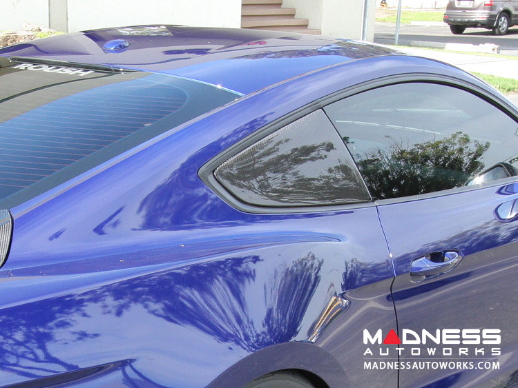 Ford Mustang Window Louvers by Anderson Composites - Carbon Fiber - Flat