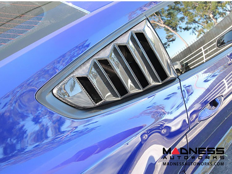 Ford Mustang Window Louvers by Anderson Composites - Carbon Fiber