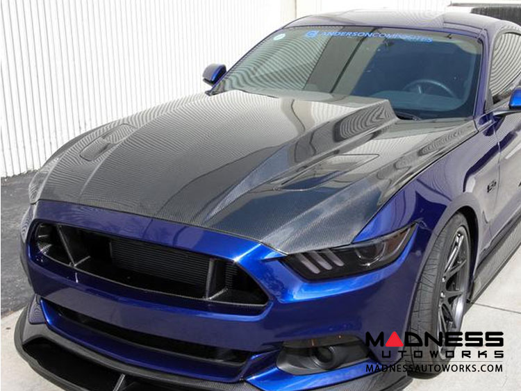 "Ford Mustang Hood by Anderson Composites - Carbon Fiber - ""Cowl"""