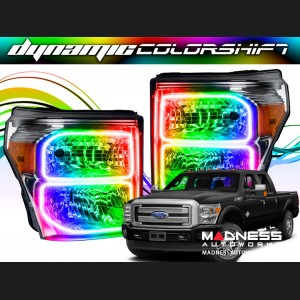 Ford F-250 ORACLE Lighting Dynamic ColorSHIFT Halo Kit - Square Ring Design