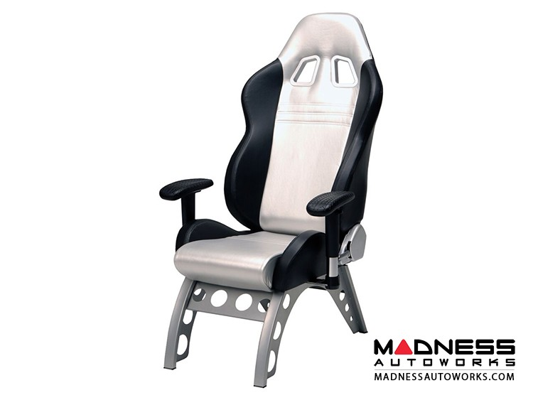 Race Car Style Stationary Chair - Monza - Silver