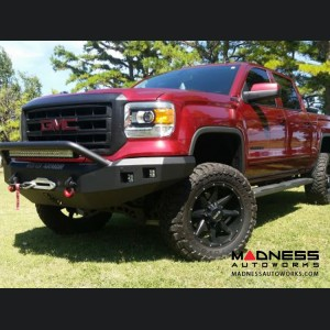 GMC Sierra 1500 Stealth Front Winch Bumper Pre-Runner Guard - Smittybilt XRC - Raw Steel WARN M12000 - (2014-2015)