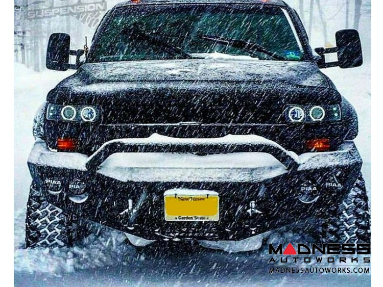 GMC Sierra 2500 Stealth Front Winch Bumper Pre-Runner Guard - Smittybilt XRC - Texture Black WARN M12000