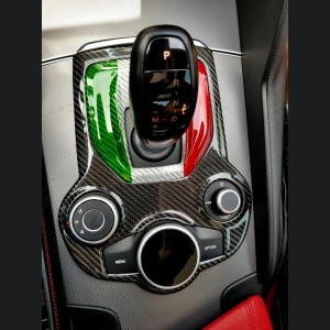 Alfa Romeo Stelvio Shift Gate Panel - Automatic - Carbon Fiber - Italian Flag Design