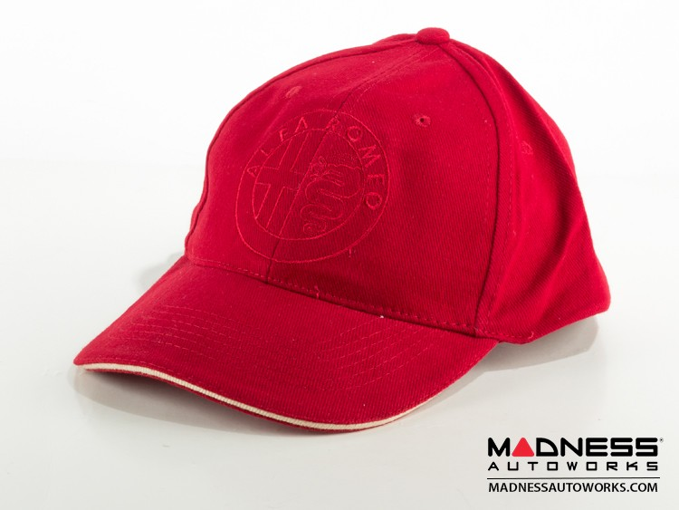 Alfa Romeo Cap - Red Hat w/ Red Stitching - Alfa Romeo Emblem