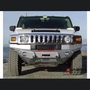 Hummer H2 Dakar Front Winch Bumper - Raw Steel WARN M8000, 9.5xp