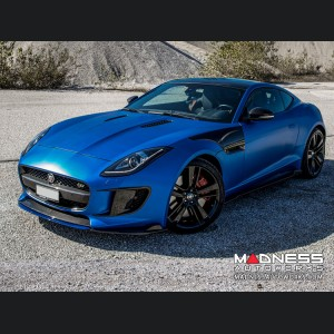 Jaguar F-Type Center Front Lip Splitter - Carbon Fiber - Blue