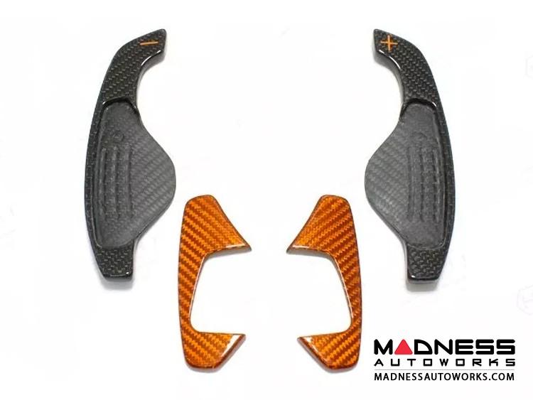 Jaguar F-Type Carbon Fiber Steering Wheel R Paddles - Orange Carbon Fiber