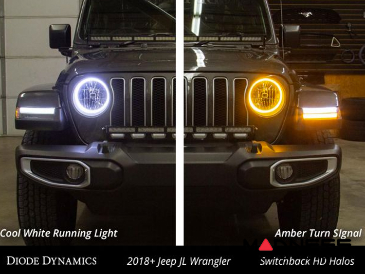Jeep Wrangler JL HD LED Halos - Switchback Cool White & Amber - Pair