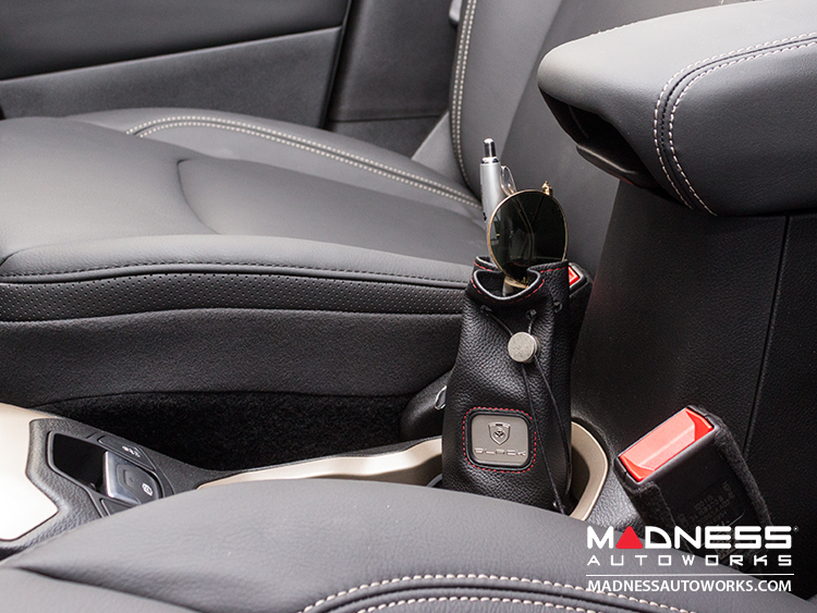 Jeep Compass Pochette - Black Leather w/ Red Stitching w/ Black Logo (Etched)