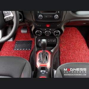 Jeep Renegade All Weather Floor Mats (set of 4) - Custom Rubber Woven Carpet - Red and Black