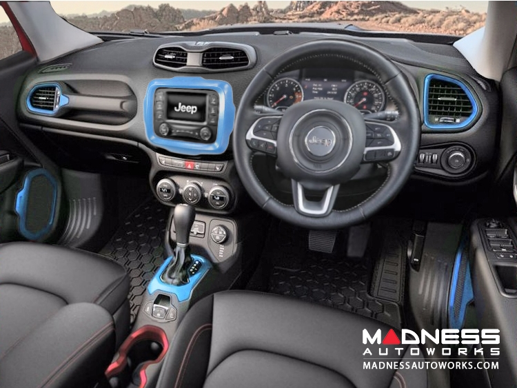 jeep jeep renegade interior trim kit blue right hand drive madness autoworks auto. Black Bedroom Furniture Sets. Home Design Ideas