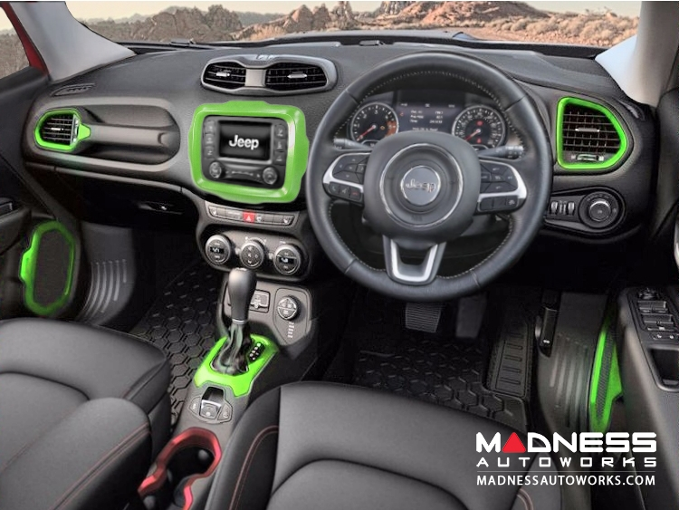 jeep renegade interior trim kit green right hand drive madness autoworks auto parts and. Black Bedroom Furniture Sets. Home Design Ideas
